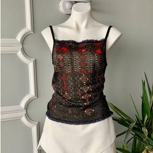 Vtg Christian Lacroix Metallic Knit Camisole Top L